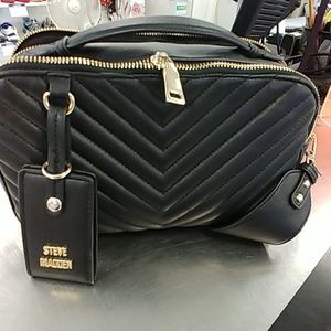 Black quilted Steve Madden double compartment bag